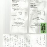 These are the cleaning/alteration bills and statement from my tailor.
