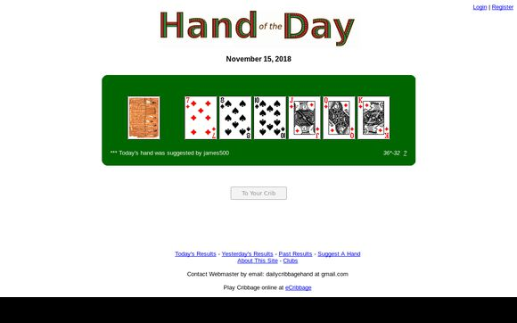 Daily Cribbage Hand
