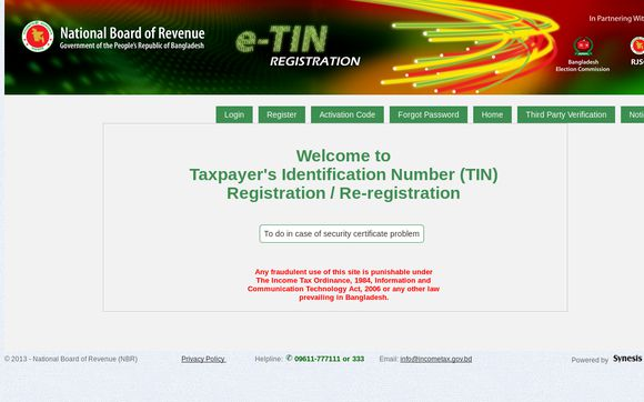 NBR TIN Registration