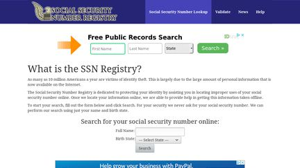 Social Security Numbers Online